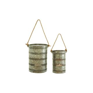 Traditional Galvanized Metal Lanterns (Set of 2)