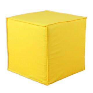 Duck Yellow Square Seamed Foam Ottoman