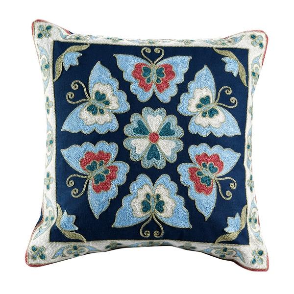 Auburn Embroidered Medallion Cotton Throw Pillow