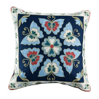 Auburn Embroidered Medallion Cotton Throw Pillow