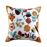 Olivia Embroidered Floral Cotton Throw Pillow
