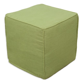 Circa Solid Cactus Square Charcoal Corded Zippered Foam Ottoman