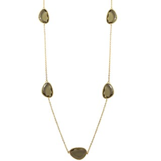 Luxiro Gold Finish Smoke Brown Sliced Glass Necklace