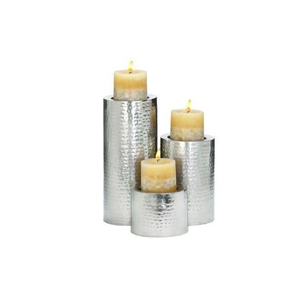 Set of 3 Polished Metal Candle Holders