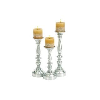 Silver Aluminum 10/12/14-inches High Candle Holder (Set of 3)