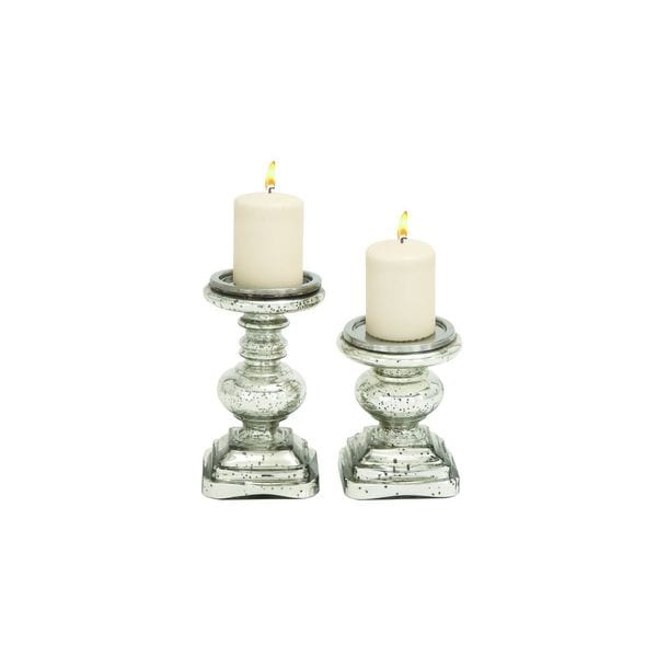 Shop The Gray Barn Joyful Stream Silver Colored Glass Candle Holders