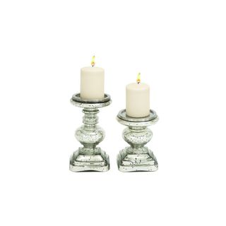 Silver-colored Glass Candle Holders
