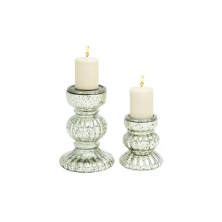 Glass Set of 2 10-inch High, 7-inch High Candle Holders