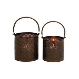 Metal 13-inch High and 12-inch High Set of Two Candle Lanterns