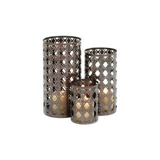 Iron Quatrefoil Design Round Candle Lanterns (Set of 3)