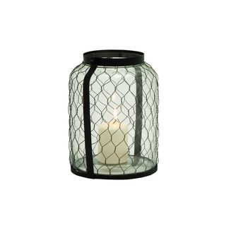 Metal/Glass 9-inch Wide x 12-inch High Candle Lantern