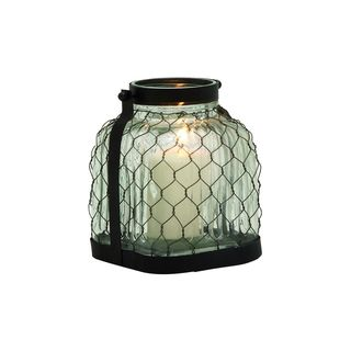 7-inch Wide x 8-inch High Metal & Glass Lantern