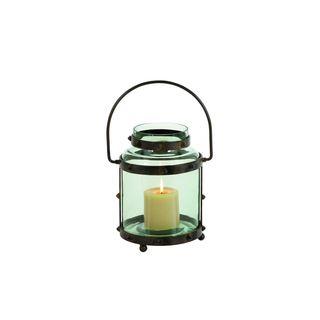 Wrought Iron and Green Glass Lantern