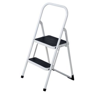 YBM Home Black and White Lightweight Folding 2-Step Ladder