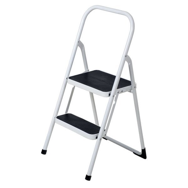 Ybm Home Black And White Lightweight Folding 2 Step Ladder