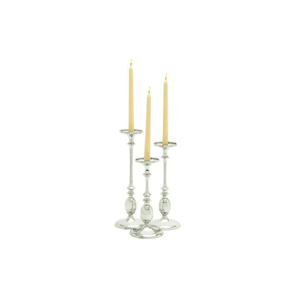 Silvertone Aluminum 15-inches, 13-inches, and 11-inches High Candleholders (Pack of 3)