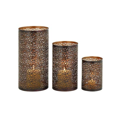 The Curated Nomad Lotta Iron Hurricane Candle Holders (Set of 3)