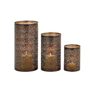 Rustic Traditional Iron Metal Hurricane Candle Holders (Set of 3)