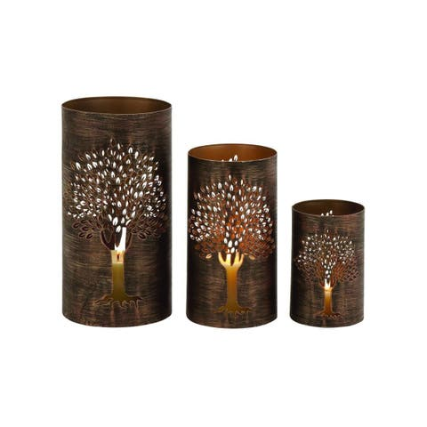 The Curated Nomad Lotta Distressed Bronze Iron Candle Holders (Set of 3)