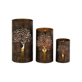 Distressed Bronze Iron 5-inch/9-inch/12-inch Hurricane Candleholders (Pack of 3)