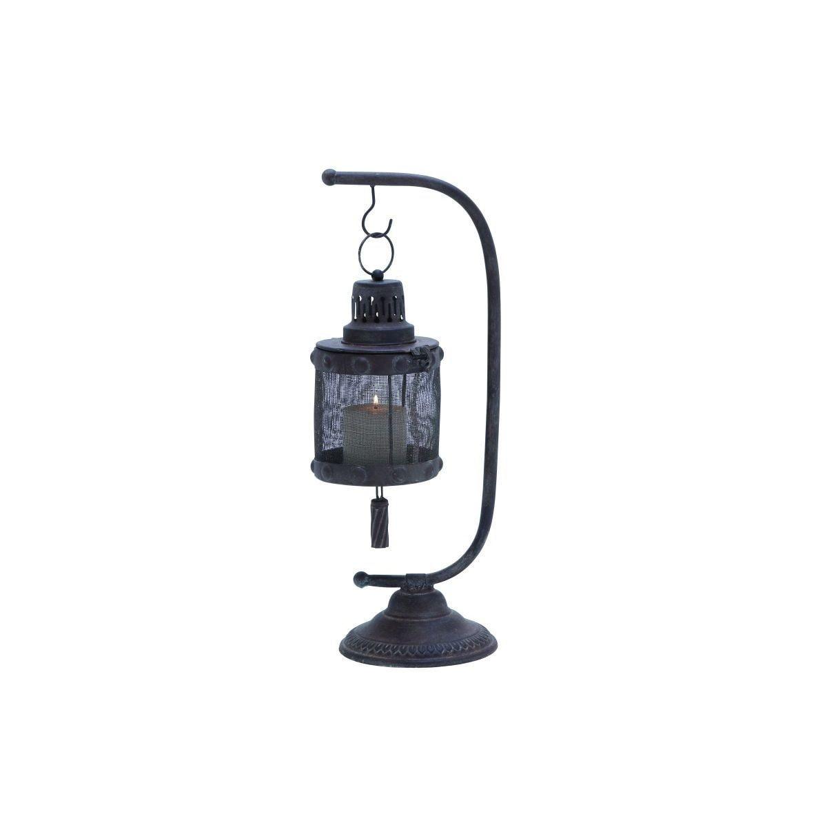 Black Iron Pedestal-style Lantern