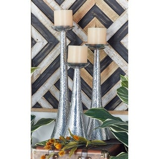 Silver Aluminum 16/20/23-inches High Candle Holders (Set of 3)