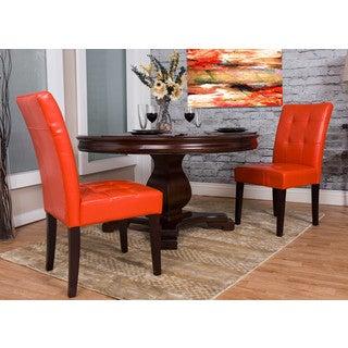 Somette Burnt Orange Bonded Leather Dining Chair Set (Set of 2)