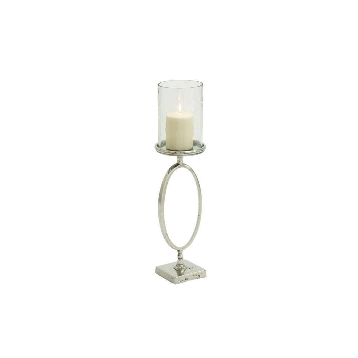 Aluminum/Glass 6-inch Wide x 22-inch High Hurricane Lamp Candle Holder