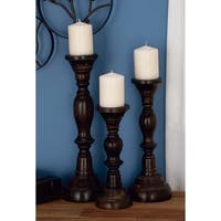 Brown Iron/Wood 18-inch, 15-inch, 12-inch Candle Holders (Set of 3)