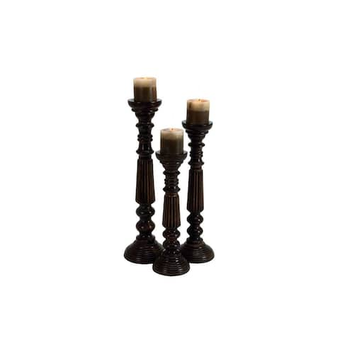 Gracewood Hollow Abbott Brown Iron/Wood 15/18/21-inches High Candle Holder (Set of 3)