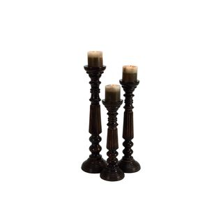 Brown Iron/Wood 15/18/21-inches High Candle Holder (Set of 3)
