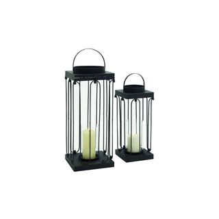 Black Metal/Glass 24-inches and 19-inches High Candle Lantern (Set of 2)