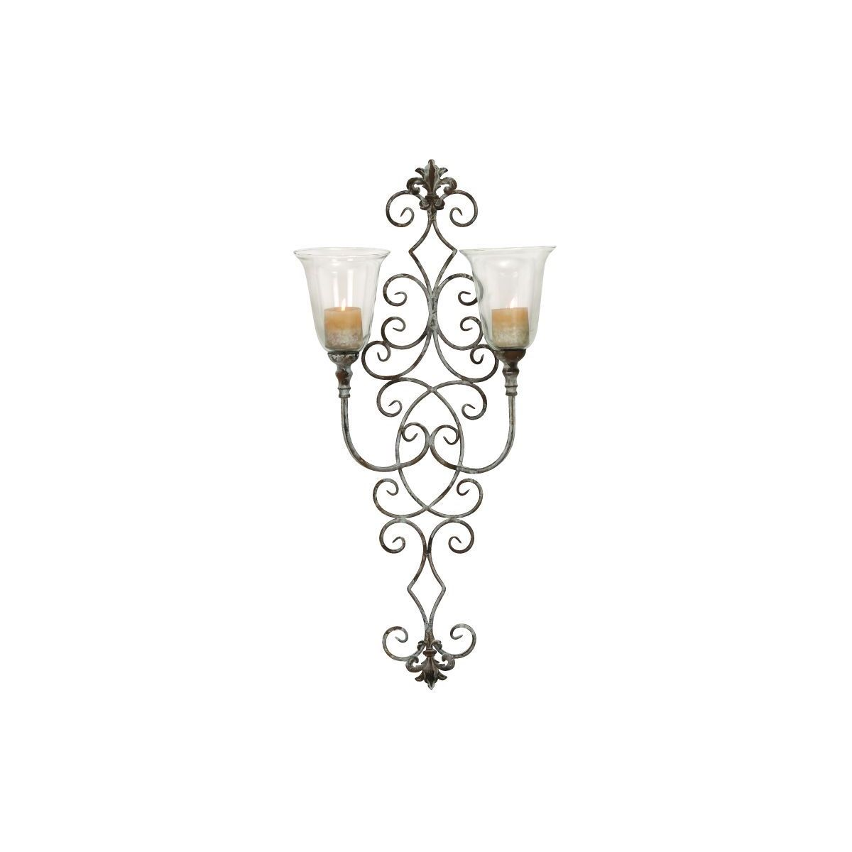 Gold Finish Metal and Glass 41-inch x 19-inch Scrollwork Candle Sconce