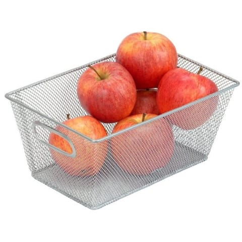 Silver Mesh 9.8-inch x 6.5-inch x 4.5-inch Open-bin Storage Basket Organizer for Fruits, Vegetables, Pantry Items, Toys, Etc.