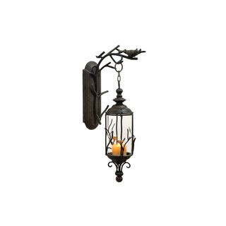 Bronze Finish Metal and Glass 25-inch x 5-inch Hanging Lantern