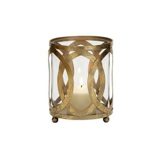 Metal, Glass 6-inch Wide x 8-inch High Candle Lantern - Thumbnail 0