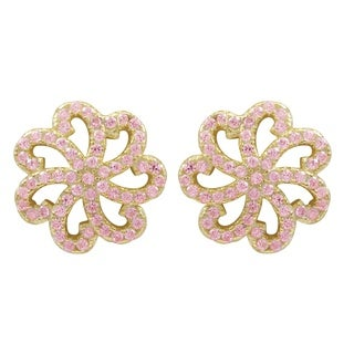 Luxiro Gold Finish Sterling Silver Pink Cubic Zirconia Flower Children's Earrings