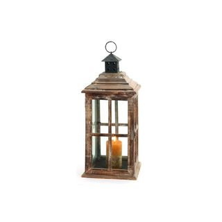 Distressed Chestnut Wood Square Candle Lantern