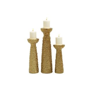 Silver Orchid Grant Gold Candle Holder (Set of 3)