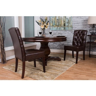 Somette Brown Bonded Leather Dining Chair Set (Set of 2)