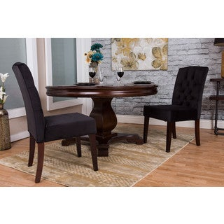 Somette Black Microfiber Dining Chair Set (Set of 2)