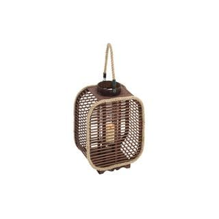 Chestnut Brown Finish Wood and Glass Rounded Square Candle Lantern with Slatted Sides and Rope Borders