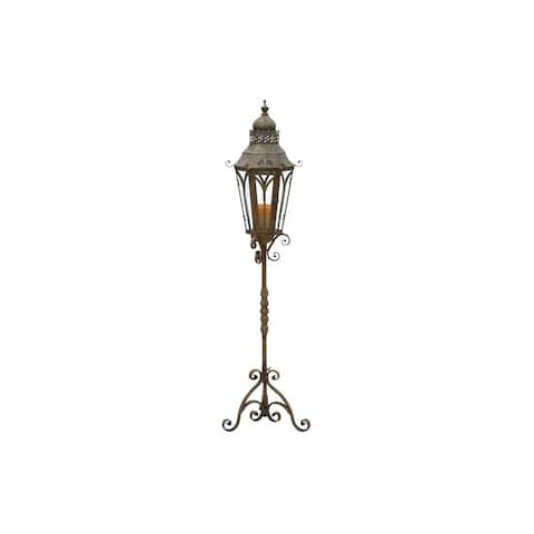 Iron and Glass Lantern Candle Holder