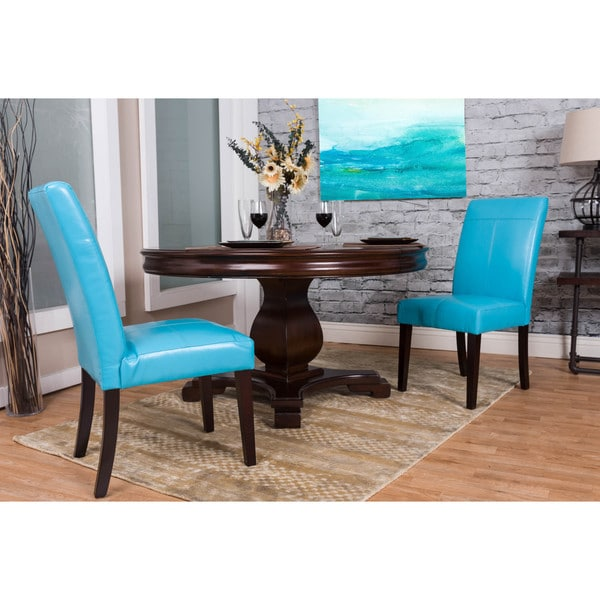 Shop Somette Aqua Bonded Leather Dining Chair Set Set Of