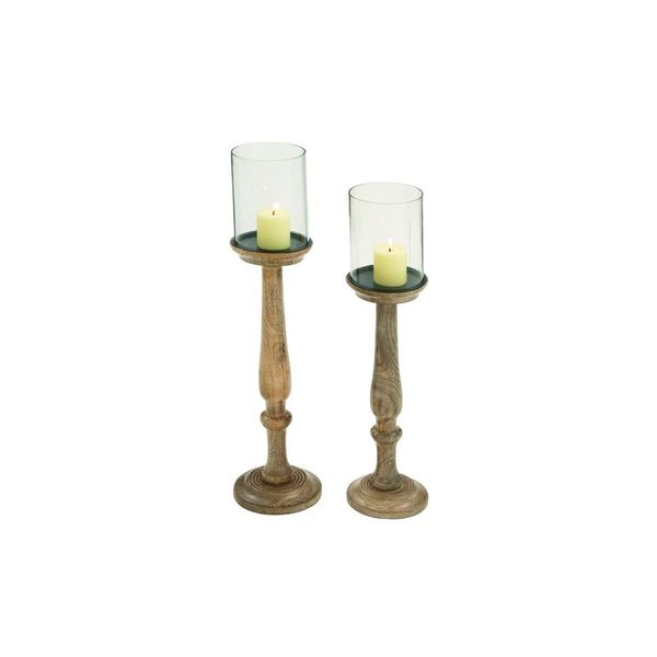 Wood and Glass Pedestal Candle Holders (Set of 2)