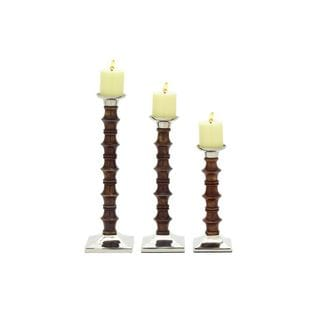 Wood and Aluminum Pillar Candle Holders (Set of 3)