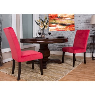 Somette Cranberry Microfiber Dining Chair Set (Set of 2)