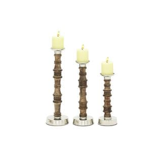 Silver/Brown Wood/Aluminum 12/15/18-inches High Candle Holders (Set of 3)