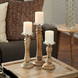 Silver/Brown Wood and Aluminum Candle Holders (Set of 3)