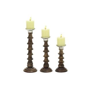 Silver/Brown Aluminum and Wood Candle Holders